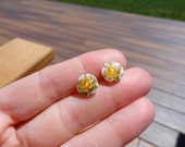 Yellow Rose Stud Earrings. Vintage Cabochons. Fall Rose Studs.