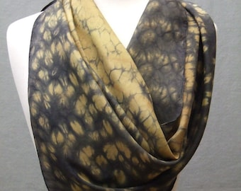 Square Silk Scarf Hand Dyed Shibori Gold Charcoal Gray Ancient Relic Collection