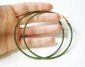 Mid Green Hoop Earrings, Thread Wrapped Hoops, Large Hoop Earings UK