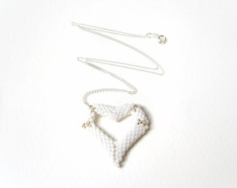 White Heart Pendant Necklace, Seed Bead Heart Necklace, Puffy Heart, Sterling Silver Chain