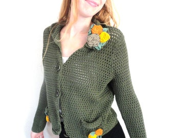 SALE Green Cotton Cardigan Sweater with Flowers, Bohemian Upcycled, Ladies Size Large, Forest Green, Moss Green Cardigan, Decorated Sweater