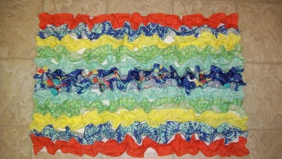Butler love designer fabric blue green yellow orange white ruffled