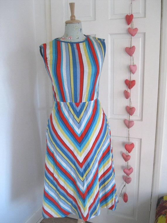 RAINBOW   Vintage multi coloured jersey maxi dress womens clothing small/medium