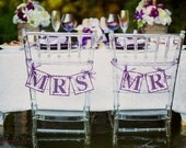 Mr & Mrs Wedding Chair Signs (can customize colors) Dark Purple, Eggplant, Light Purple, Lavender: Wedding Banner, Reception, Decoration