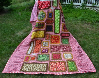 Handmade Picnic Quilt Country Kitchen Tablecloth Fruit and Veg Quilt Twin Size