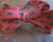 Holidays With Granny - Mens/Boys Adjustable Self-Tie Bow Tie in Dark Red and Paisley Print