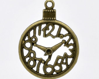 5 Bronze Clock Charms - Antique Bronze - 39x30mm - Ships IMMEDIATELY  from California - BC361
