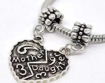 MOTHER DAUGHTER Beads -  Silver - Dangle Beads - 40x25mm - 3pcs - Ships IMMEDIATELY  from California - SC336