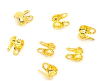 100 Calottes 1.5mm - Gold - End Crimp Bead Ball Chain Connector Clasps - 4x3.5mm - Ships IMMEDIATELY  from California - F47