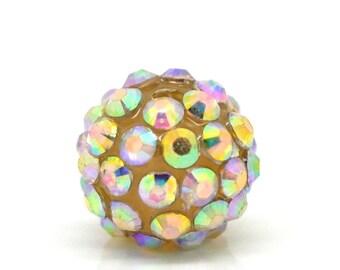 Rhinestone Ball Beads - Champagne AB Color Acrylic - Rhinestones - 14x13mm - 5pcs - Ships IMMEDIATELY from California - B725