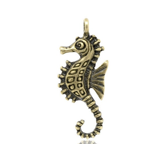 Bronze Seahorse Charms - Antique Bronze - 10pcs - 29x11mm- Ships IMMEDIATELY from California - BC352