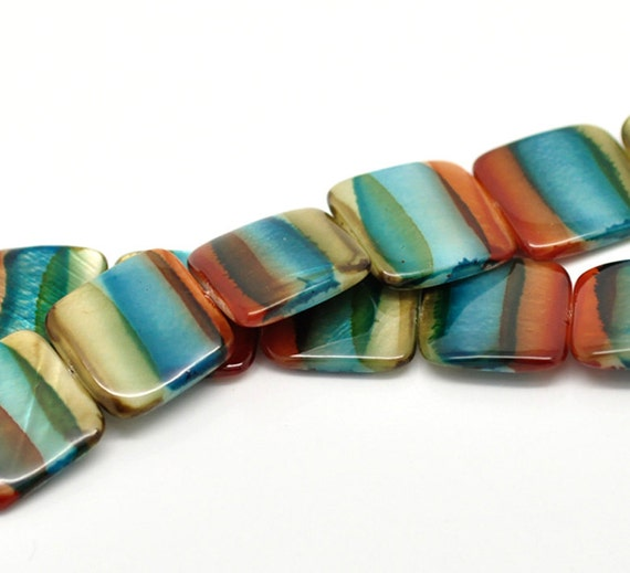 1 Strand Multicolor Square Shell Loose Beads 20x20mm - Ships Immediately from California - B188