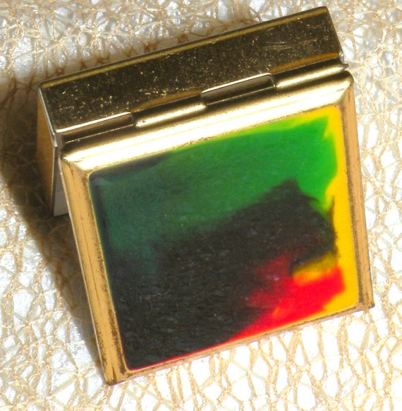 Vintage Pill Box Multi-Color Swirls Gold Tone Hinged Back Sears Sticker