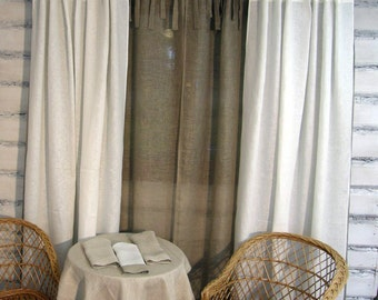 "Linen Curtain Panel White Tab top 52""x84"" ECO"
