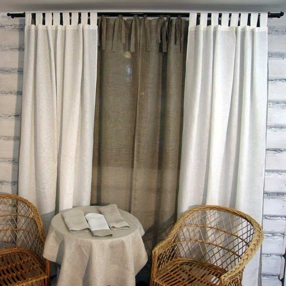 Linen Curtain Panel Sheer Grey Tie Top 52 X 84 Eco