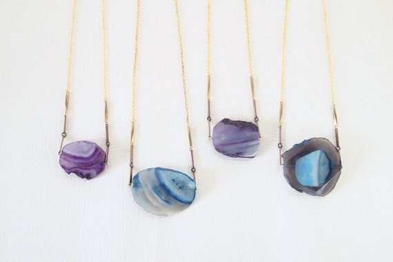 Statement Necklace : Autumn Fashion - Raw Agate Necklace, gifts for her