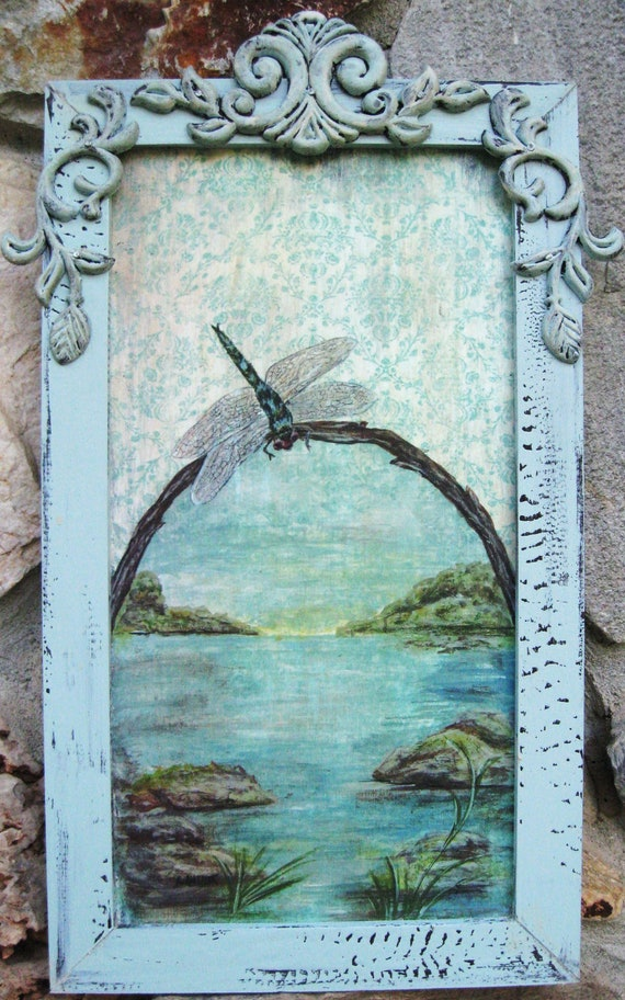"Dragonfly Cottage Chic Beachy Home Decor Shabby Aqua Framed Original Art Print Nature Theme Summer Decor 10 1/4"" x 16 1/4"""