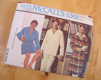 Uncut McCalls Sewing Pattern 5368 - Men's Robe and Pajamas - Size Medium