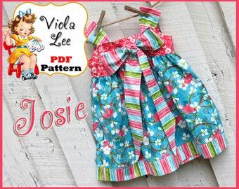Josie... Girl's Apron Knot Dress Pattern. Jumper Pattern. INSTANT DOWNLOAD. Girl's Dress Pattern. pdf Sewing Pattern. 2/3T-8