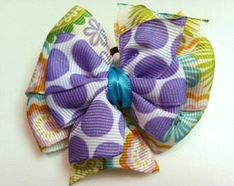 Pink Orange Turquoise Lime Multicolor Floral & Purple Polka Stacked Boutique Style Ribbon Bow Handmade for PETS Dog Bow Collar Accessory