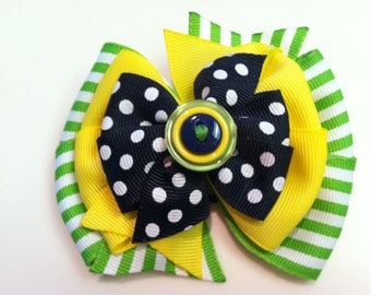 Green and White Stripes, Yellow, and Navy Blue Polka Dots Stacked Boutique Style Ribbon Bow Handmade for PETS Dog Bow Collar Accessory