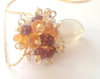 Fiery Sunset, Moonstone Cluster Necklace