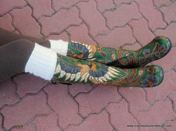 Green and Caramel Balinese Batik Vegan Moccasin Boots Lace up Back, Size 6.5