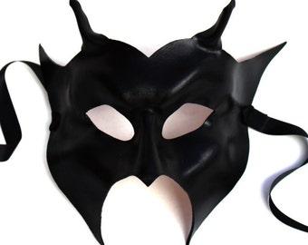 Black Leather Horned Devil Mask, Handmade UK