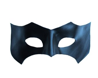 Black Leather Superhero Bat Mask, Handmade, Masquerade