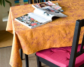 Mustard linen tablecloth.Embroidered floral table linens.Handsewn and Ready to ship!