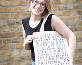 London Tube Stops Canvas Bag