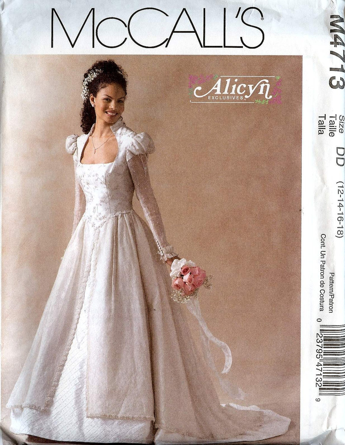 Pattern mccalls 4713 wedding dress high collar scoop neckline for High low wedding dress patterns