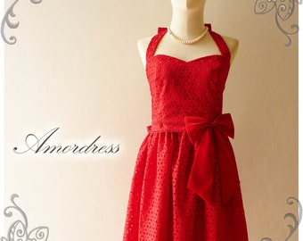 Red Dress Red Bridesmaid Dress Lace Dress Vintage Inspired Dress Wedding Dress Bridal Party Bridesmaid Red Dress - Size XS-XL,custom