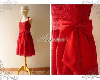 Lace Dress Red Bridesmaid Dress Vintage Inspired Retro Style Dress Red Summer Dress Party Dress Sweetheart Bustline Dress-Size XS-XL, Custom