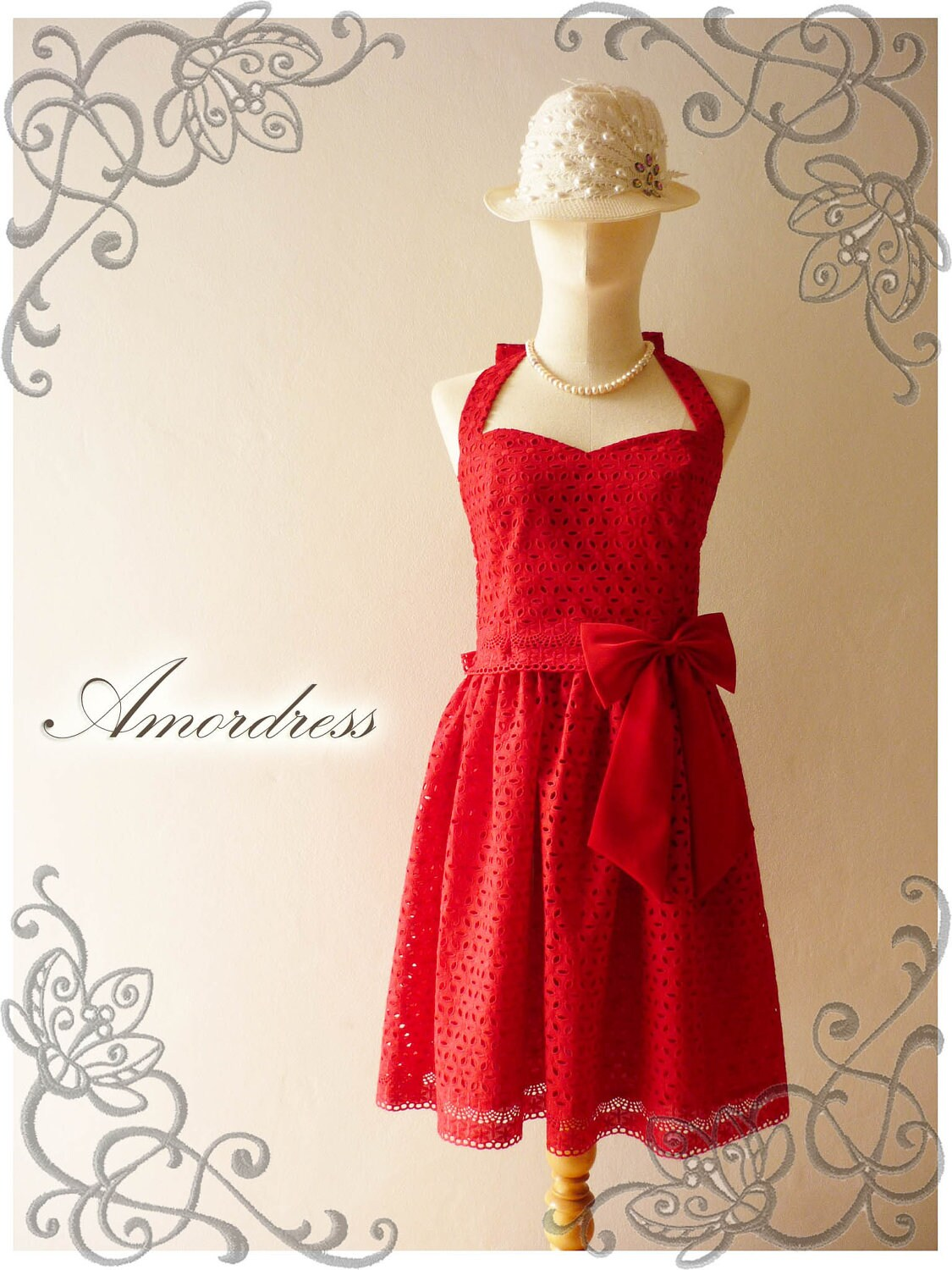 Red Dress Red Bridesmaid Dress Lace Dress Vintage by Amordress