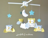 Baby Mobile - Yellow and Gray Mobile - Owl Baby Mobile - Mobile Owls - Nursery Mobile - Neutral Mobile - You can pick your colors :)