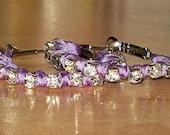 Lavender Purple Crystal Rhinestone Hoop Earrings, Silk Ribbon Wrapped Knot Hoops Bridesmaid gift