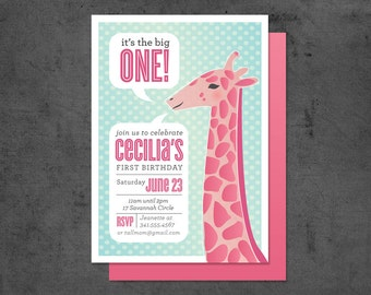 First Birthday Invitation, Giraffe (15)