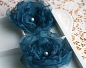 Organza Flower Bloom in Deep Teal w/ Faux Pearl Center-Brooch PAIR