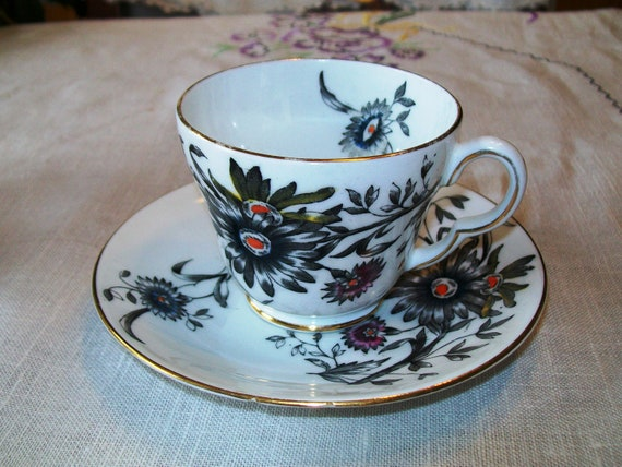 Vintage Teacup and Saucer, Stanley Fine Bone China, Unknown Floral Pattern, English China