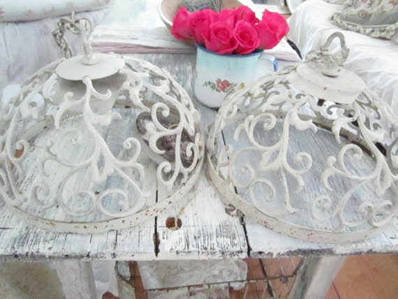 Pair white Vintage ornate chandeliers  shabby chic prairie cottage chic