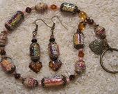 Handmade Paper Bead Trio Bracelet Key Chain Earrings, and Jacket Pin
