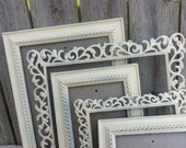 Shabby Chic PICTURE FRAMES - Set of 5 - Heirloom White -  Rhinestone - Romantic Wedding - Glass and Backing - Tabletop and Wall Hanging