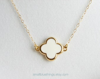 Simple White Clover Necklace. Small Four Leaf Clover with Gold Colored Trim. Bridesmaid Gift. Gift for Her. Simple Modern Jewelry