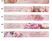 Custom  Etsy Banners romantic pink flowers