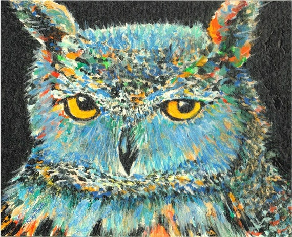 Owl Abstract Portrait Contemporary Home Decor Christmas Gift