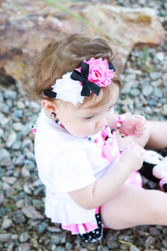 Minnie Mouse Inspired Pink Polka Dot and White Chiffon Rose Headband Baby Headband Photo Prop Newborn, Infant, Toddler, Youth, Adult