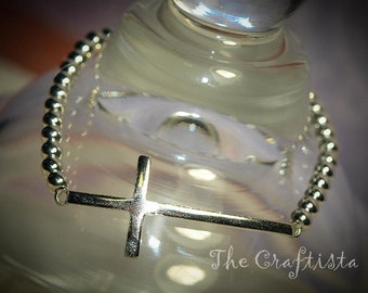 Silver Sideways Cross Bracelet  -- Silver-colored Beads  -- Mom, Daughter, Sister, Best Friend