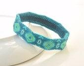 Beaded Bangle, Turquoise Green Bracelet, Rigid Sturdy Bangle, Diamond Pattern