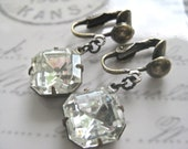 Clip Earrings Estate Styled Sparkling Crystal Octagons Suspend from Antiqued Clip ons